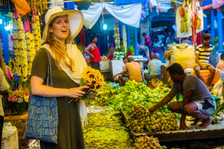 Guests enjoying howrah flower market