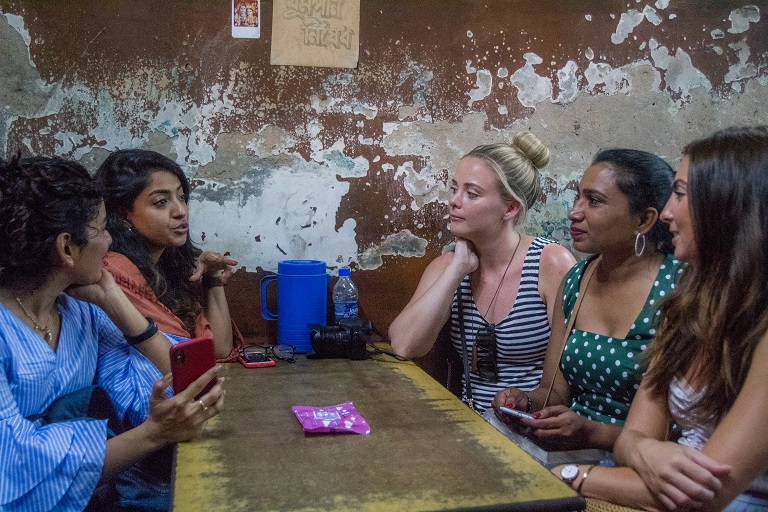 guests vibing in a 100 year old cafe in old calcutta