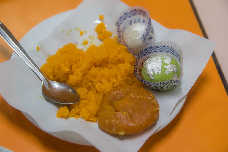 sample of the deserts on the alleyway food tour calcutta