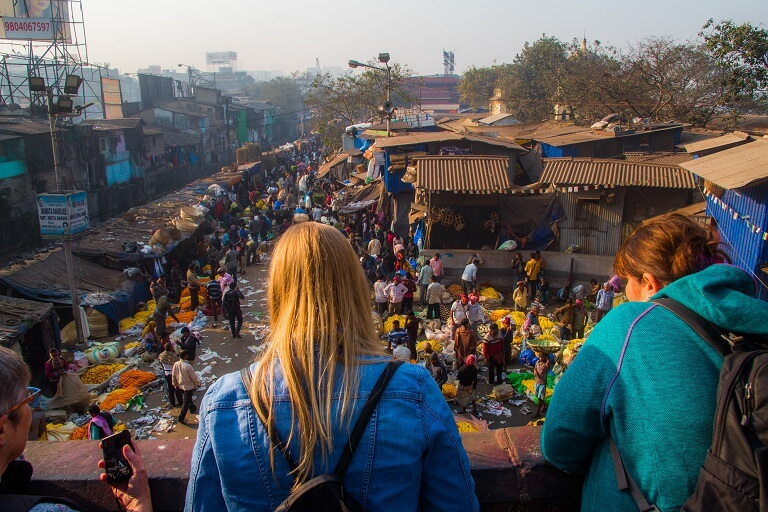 vantage point view of the largest flower market in asia on calcutta's best walking tour the magic hour tour.