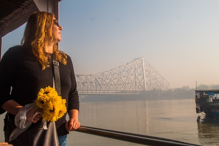 taking a steam boat ride on the river ganga on calcutta's best walking tour the magic hour tour.