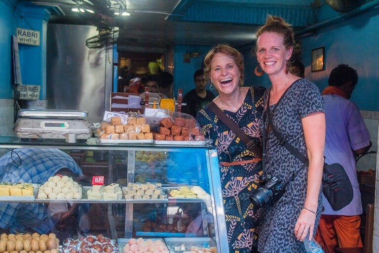 stopping at a famous bengali sweet shop on calcutta's best walking tour the magic hour tour.