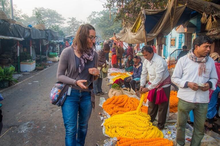 walking through the amazing flower market on calcutta's best walking tour the magic hour tour.