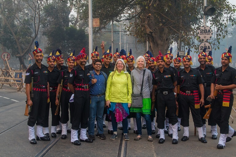 posing for pictures with Indian army on calcutta's best walking tour the magic hour tour.